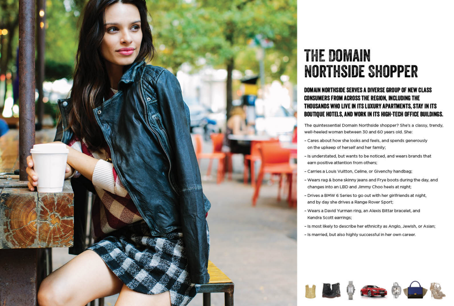 The page within Domain NORTHSIDE's 2017 Leasing Brochure that has caused insult to many people of color in Austin and surrounding areas specifically excludes people of color from their image of the ideal shopper.