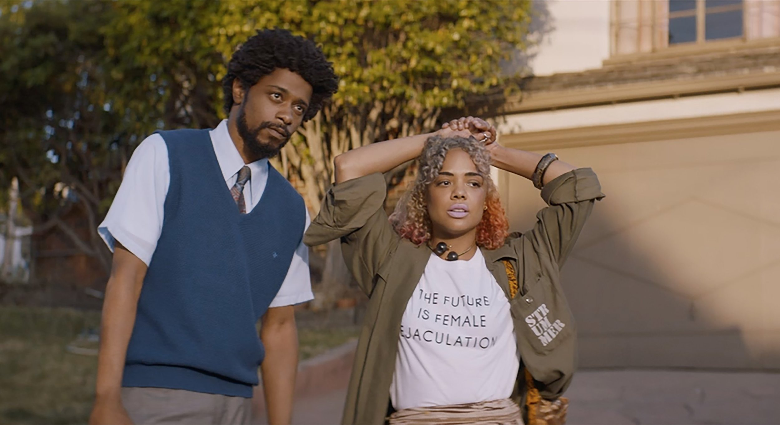 """Lakeith Stanfield and Tessa Thompson in """"Sorry to Bother You."""" Courtesy images"""