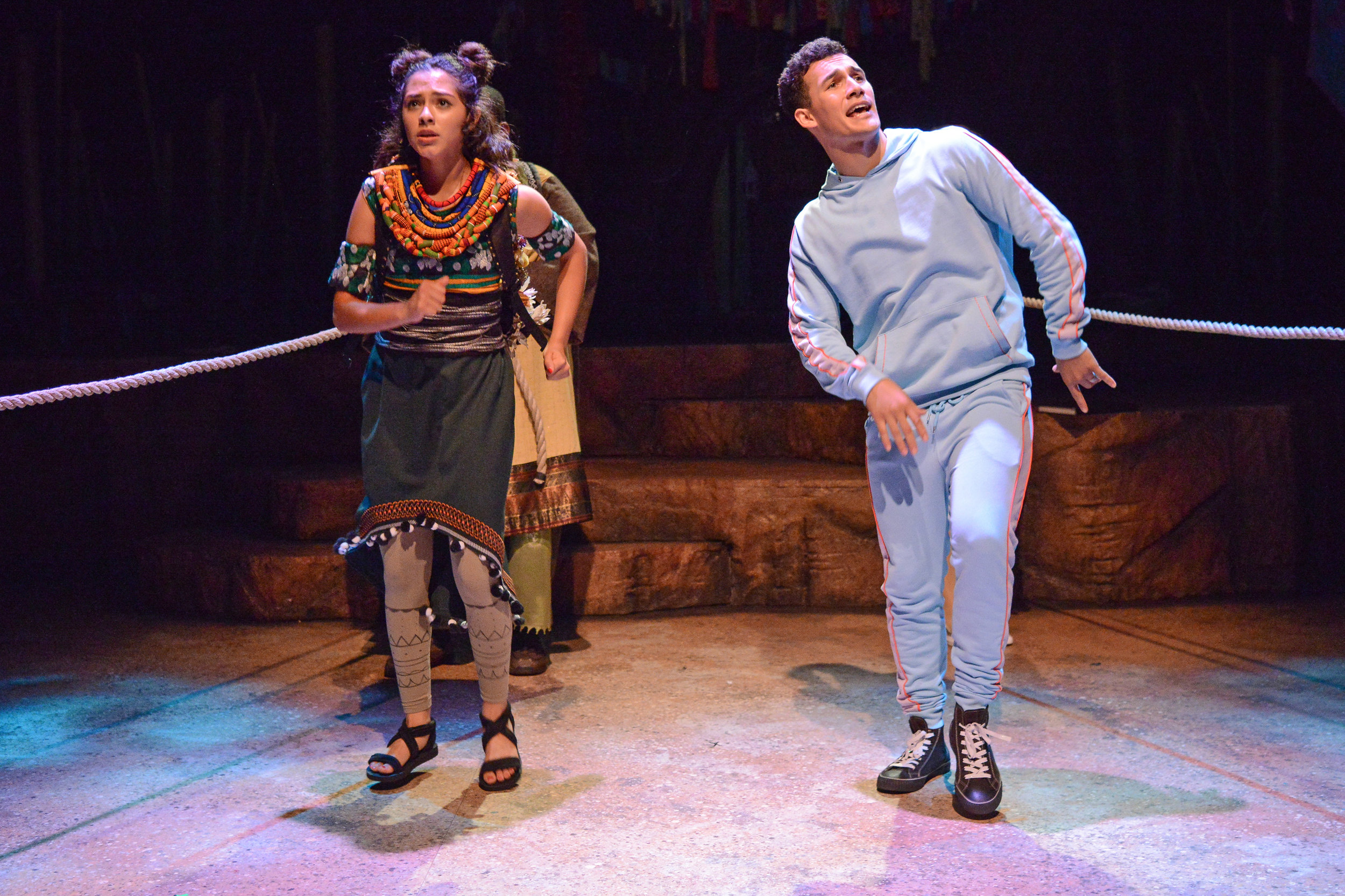 Leslie Ann Leal as Kama and Austin Hyde as Jackson in ZACH Theatre's 'Tortoise and Hare.' Photo by Kirk Tuck