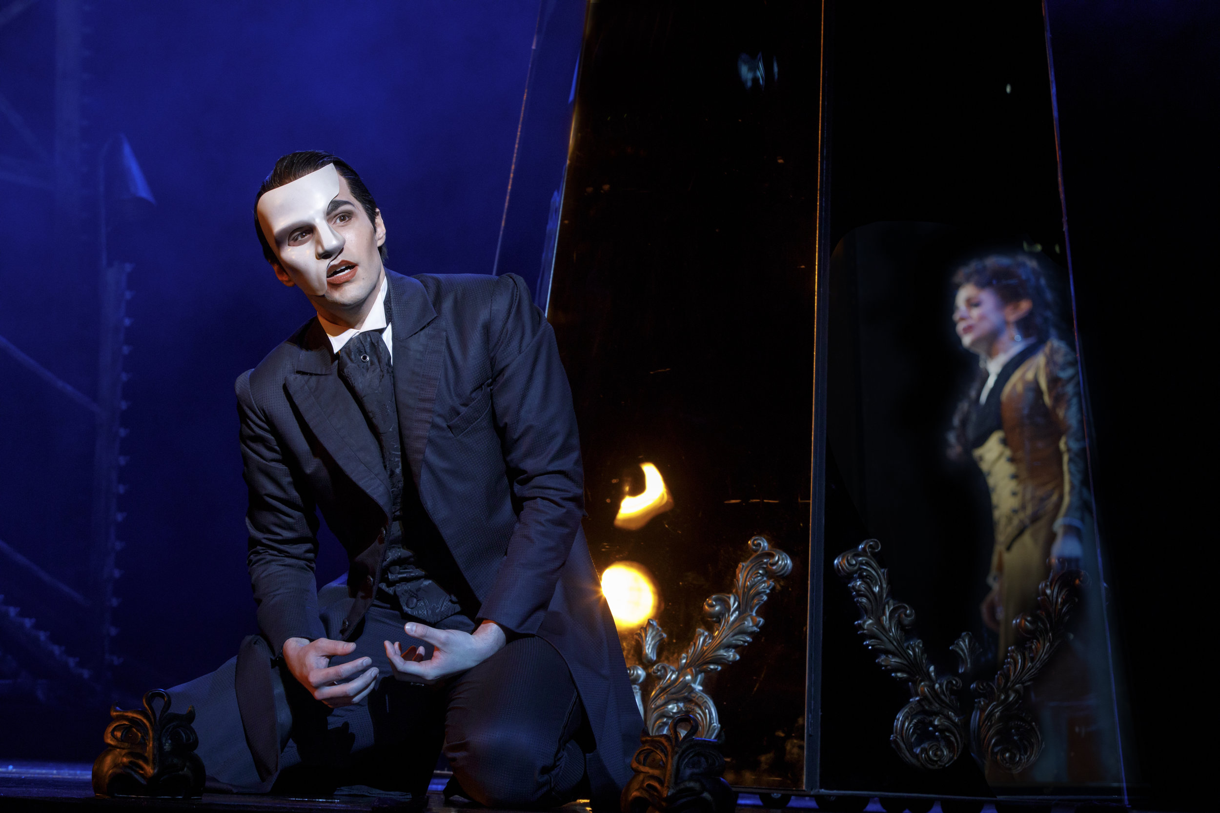 """Bronson Norris Murphy (""""The Phantom"""") and Meghan Picerno (""""Christine Daaé"""") star in """"Love Never Dies."""" Photo by Joan Marcus"""