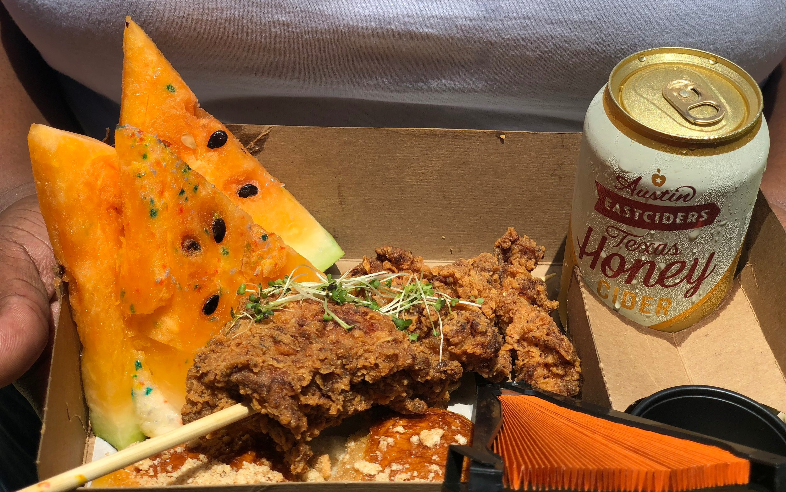 Guests were able to enjoy foods including Southern fried chicken, yellow watermelon, with Austin Eastciders Texas Honey Cider. Photo by Victoria Randle