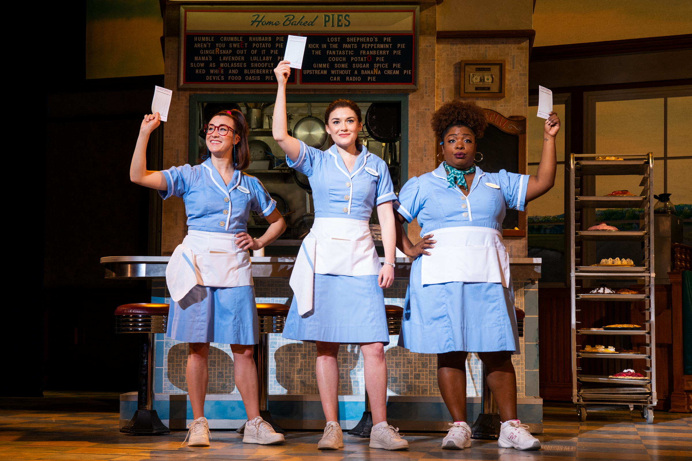 Jessie Shelton, Christine Dwyer and Maiesha McQueen in Waitress. Photo by Philicia Endelman