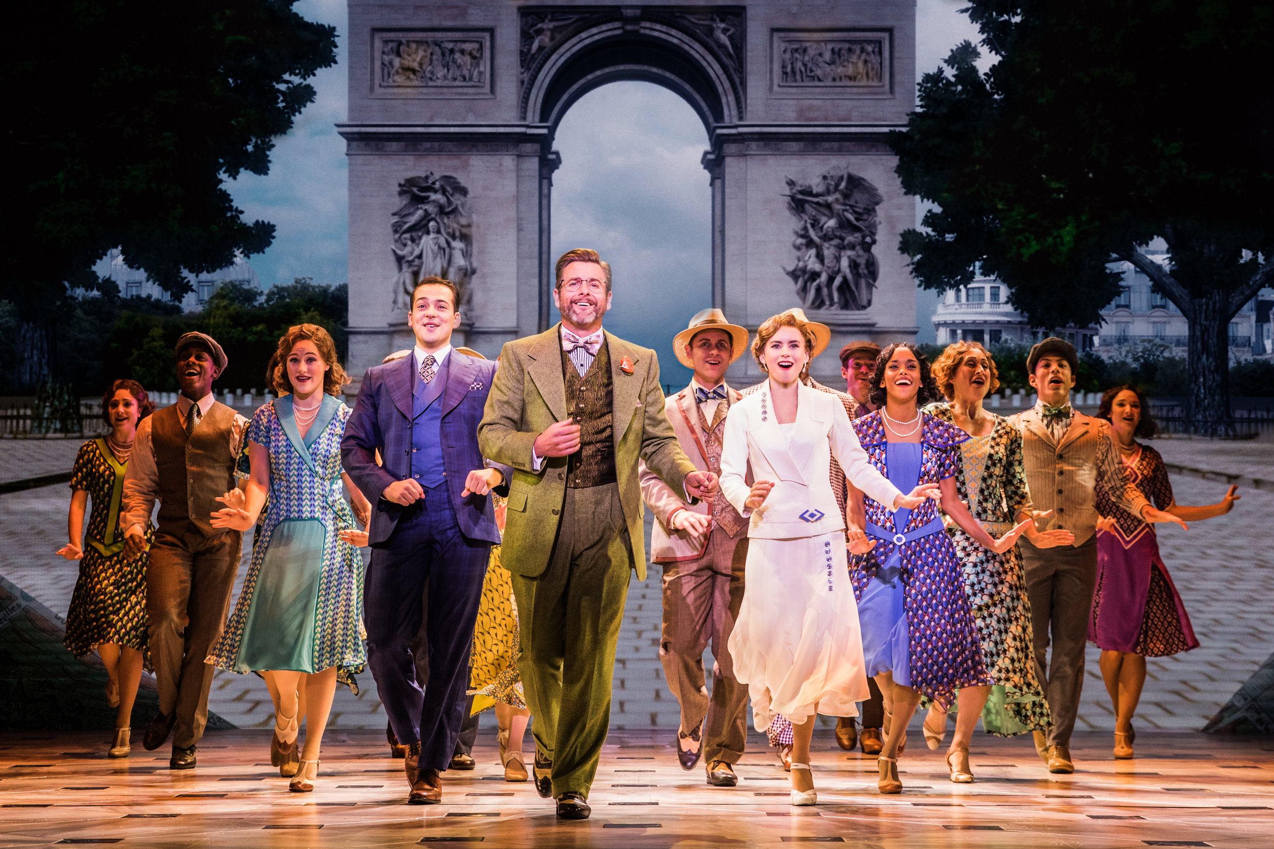 Edward Staudenmayer (Vlad), Lila Coogan (Anya), Stephen Brower (Dmitry) and the company (including Ronnie S. Bowman, Jr) of the National Tour of ANASTASIA. Photo by Evan Zimmerman, MurphyMade