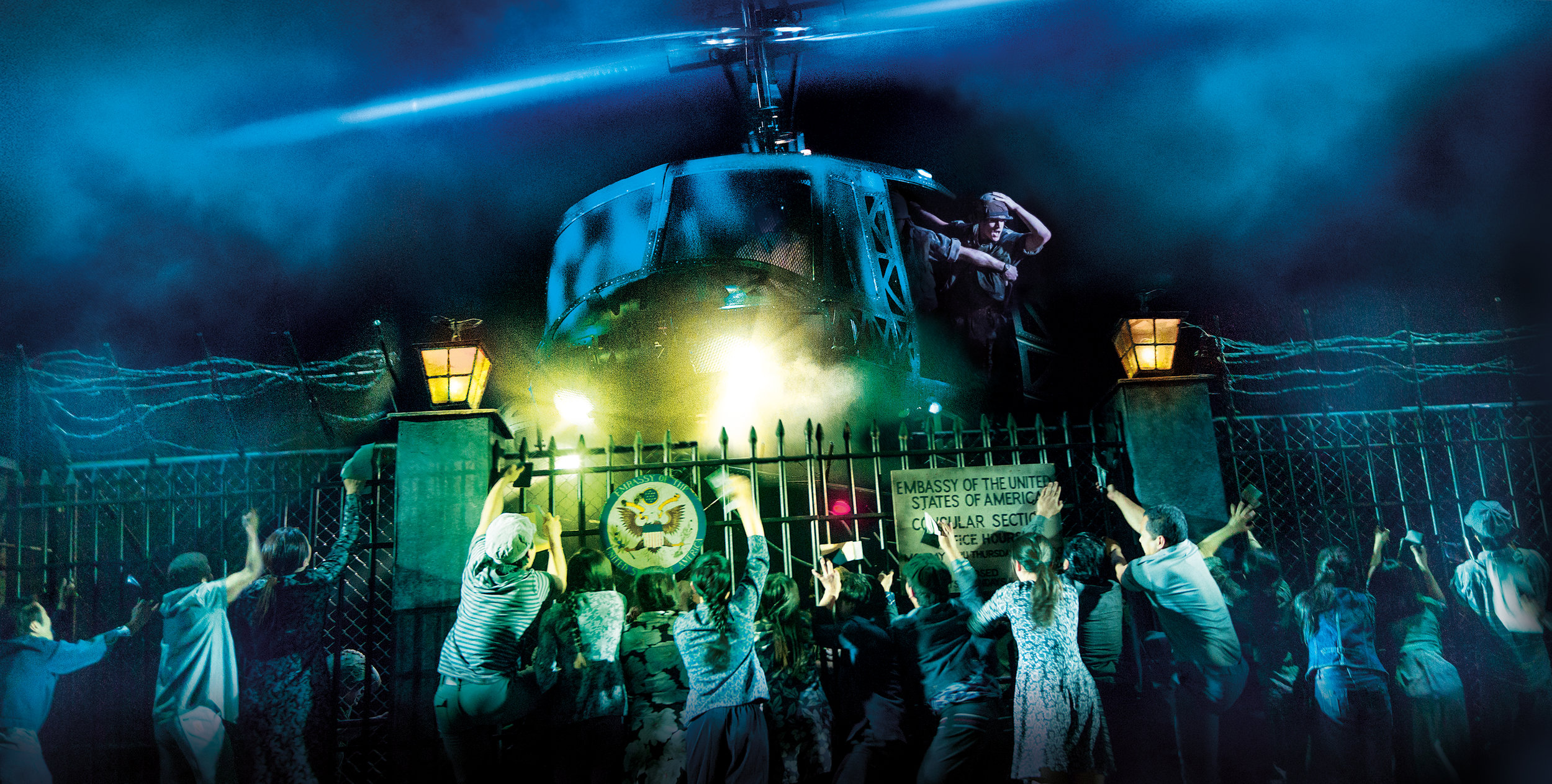 The helicopter lands in 'The Nightmare' in Miss Saigon. Photo by Matthew Murphy and Johan Persson