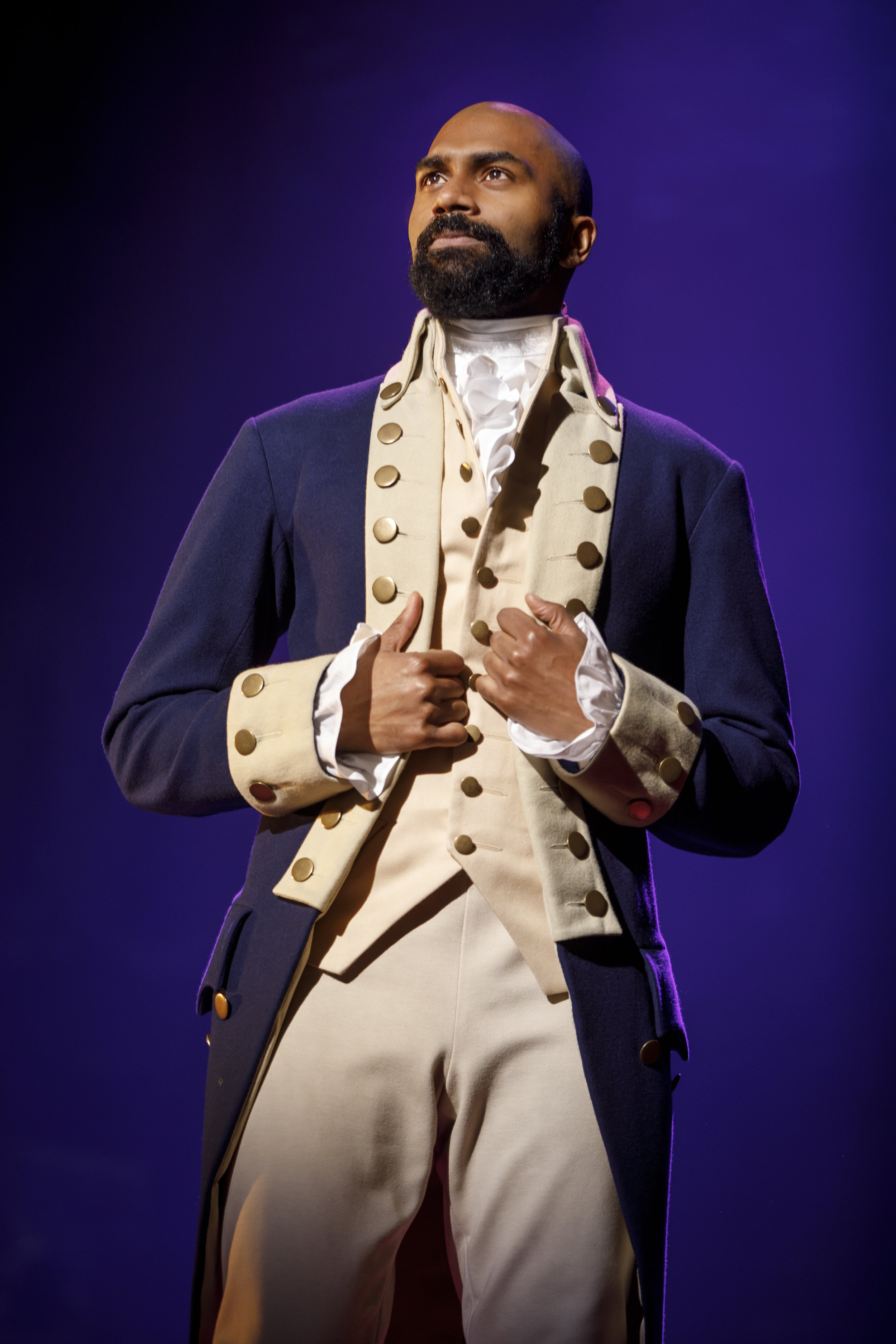 "Nik Walker as Aaron Burr in ""HAMILTON"" National Tour. Photo by Joan Marcus"