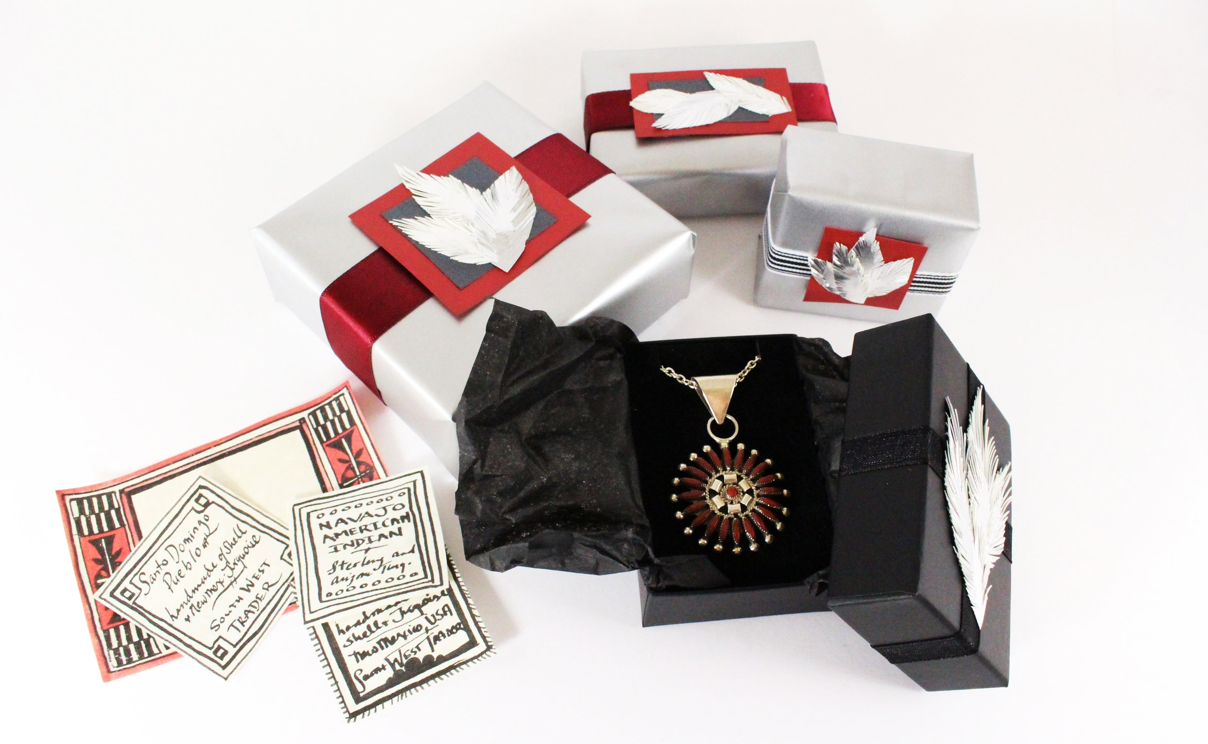 - All of our online jewellery purchases are boxed and gift wrapped in store, featuring our signature handmade details and embellishments.