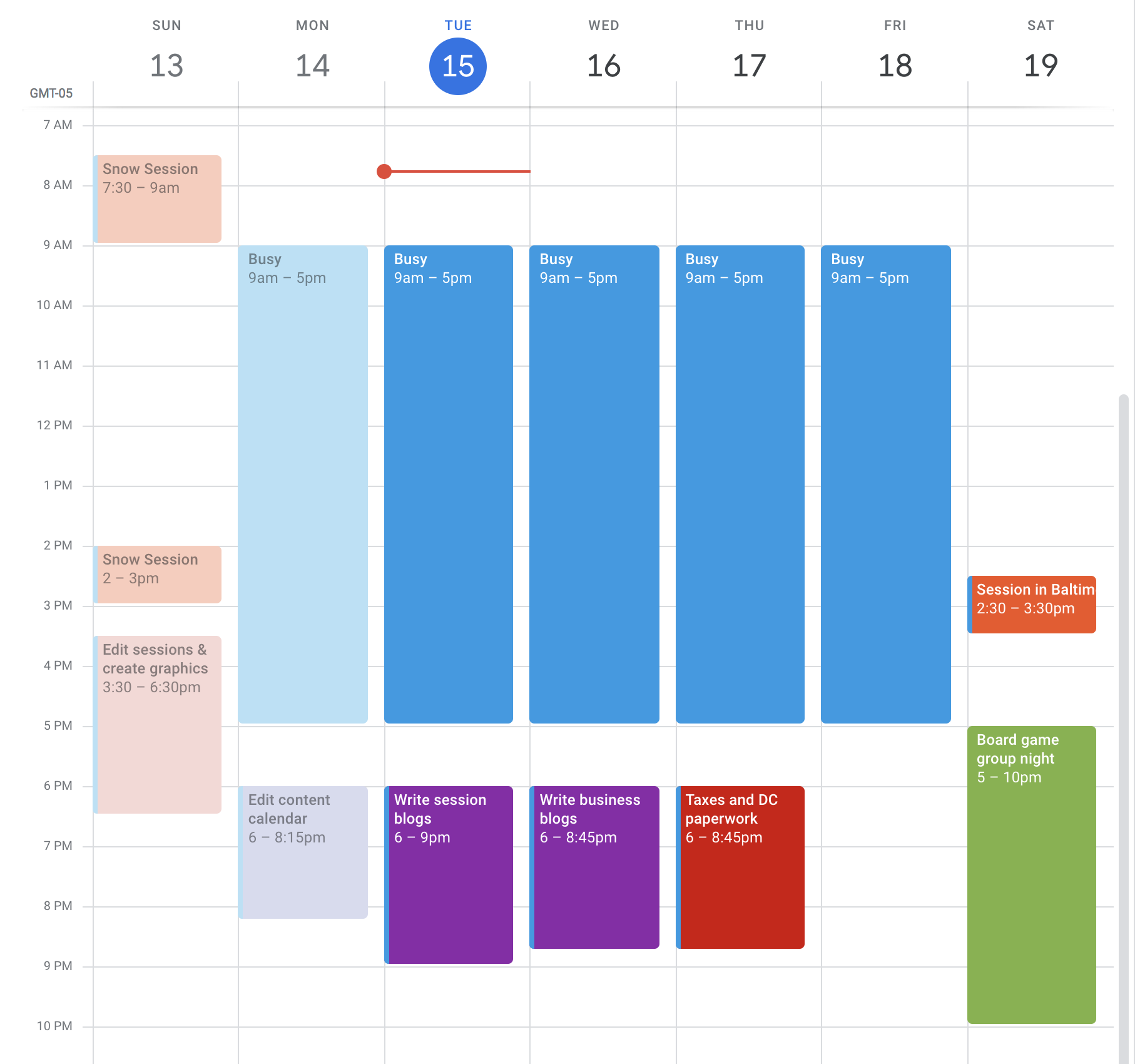 Example of what my schedule as a full-time worker looks like with batching photography work