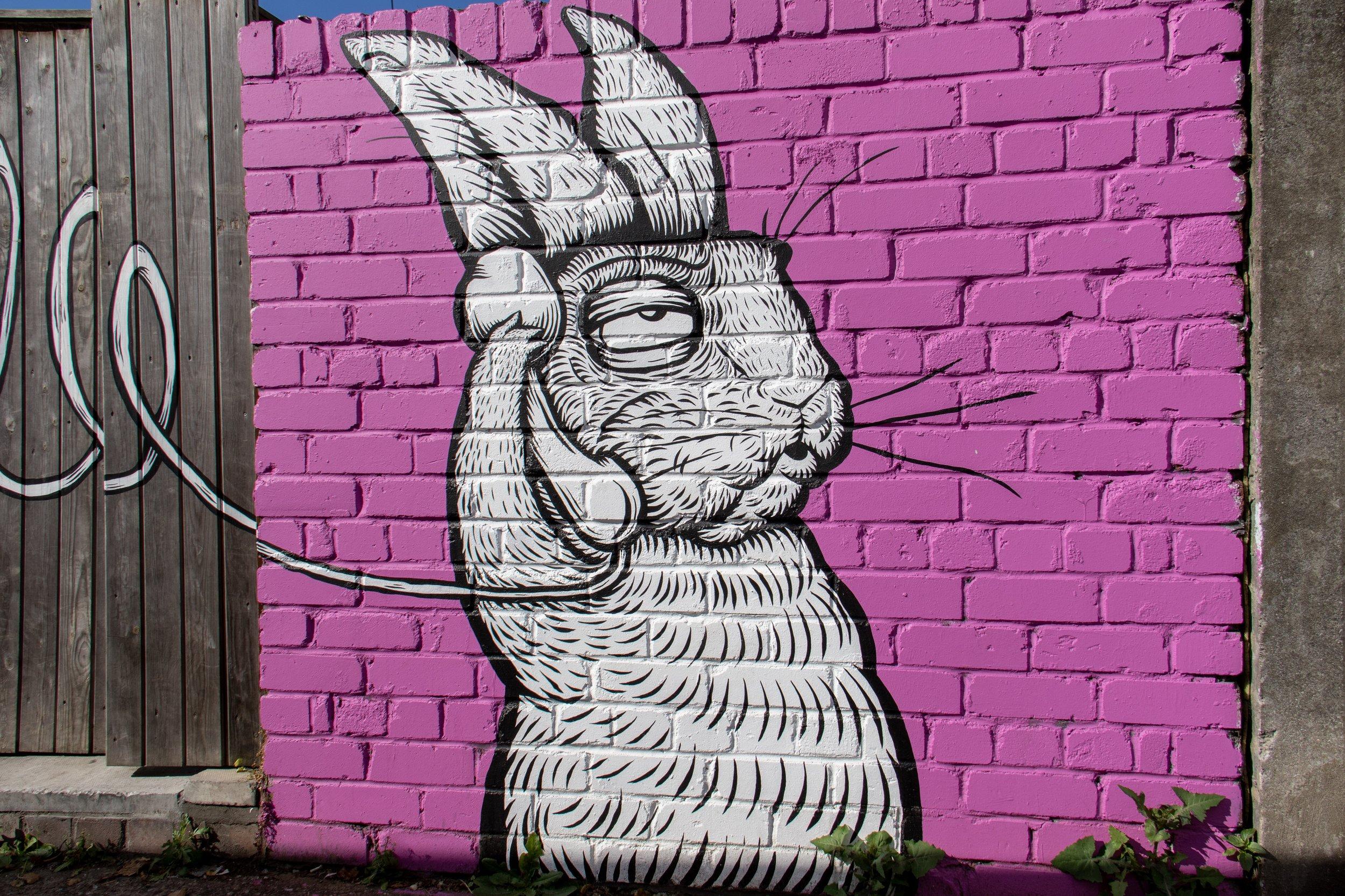 graffiti rabbit holding a telephone
