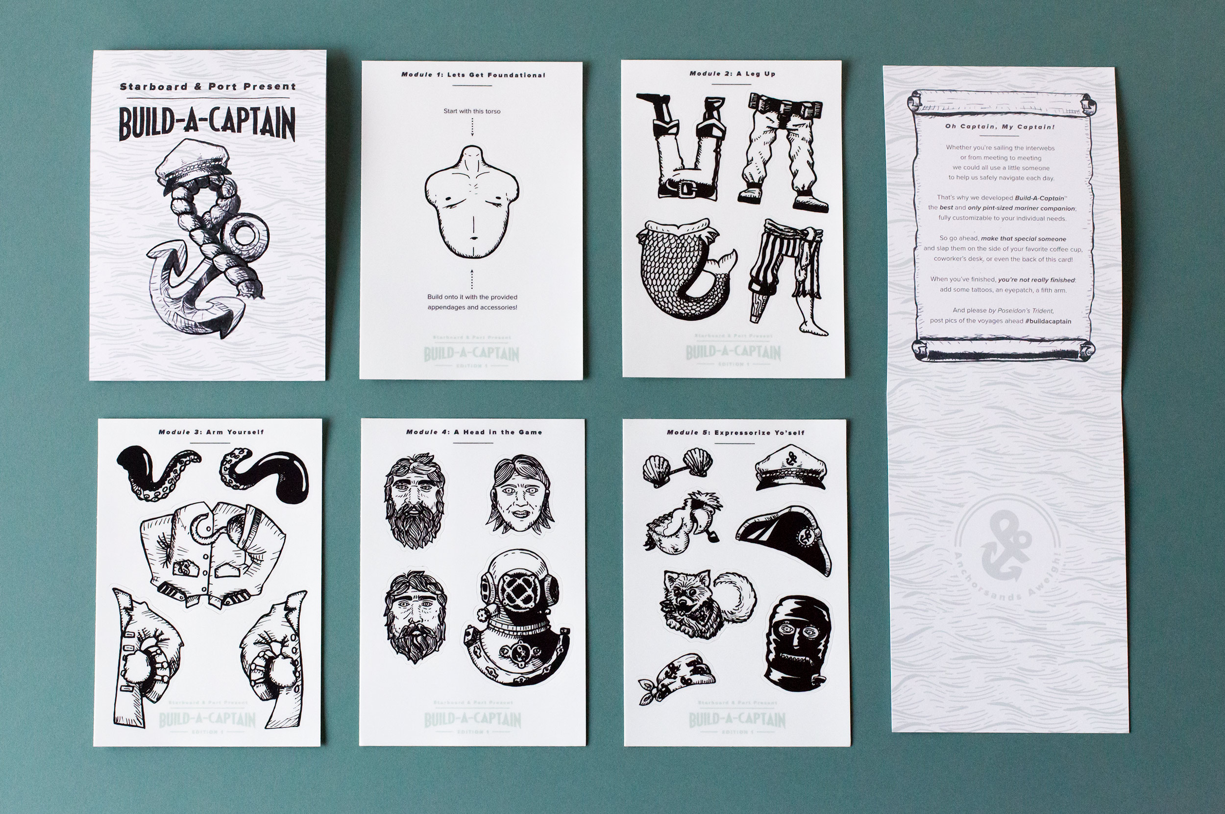 Build-A-Captain Sticker Sheets for Starboard & Port Promo
