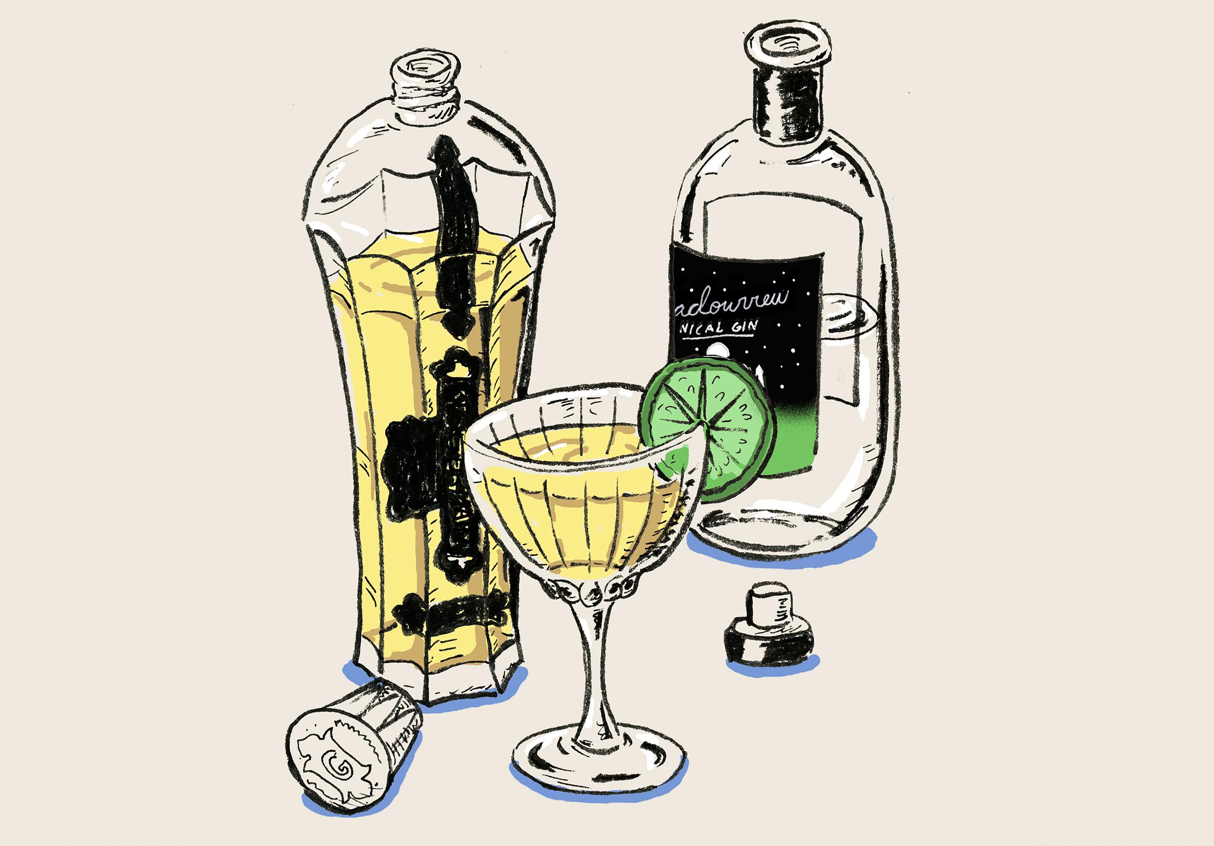 French Gimlet Cocktail Illustration