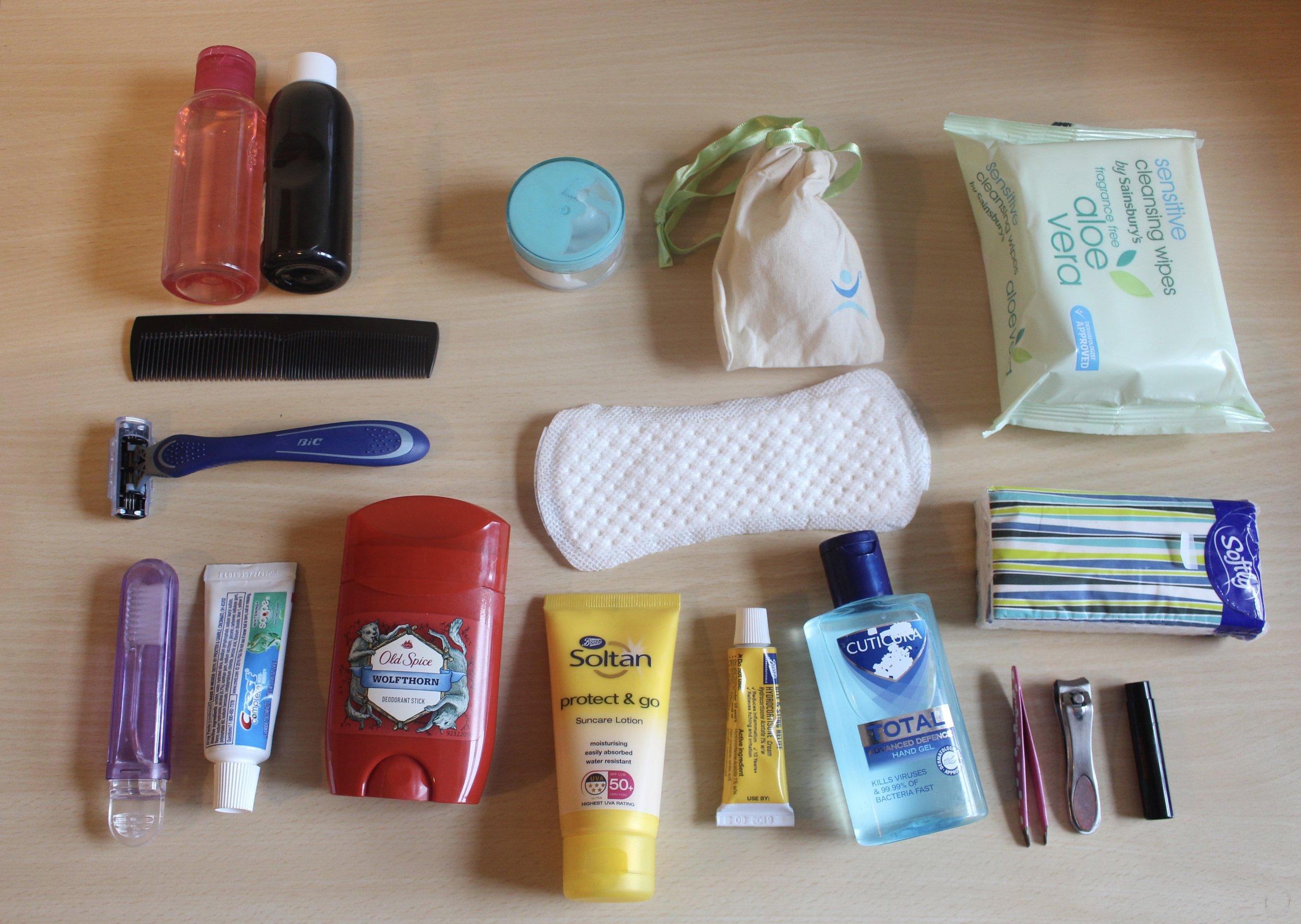 Toiletries packing list