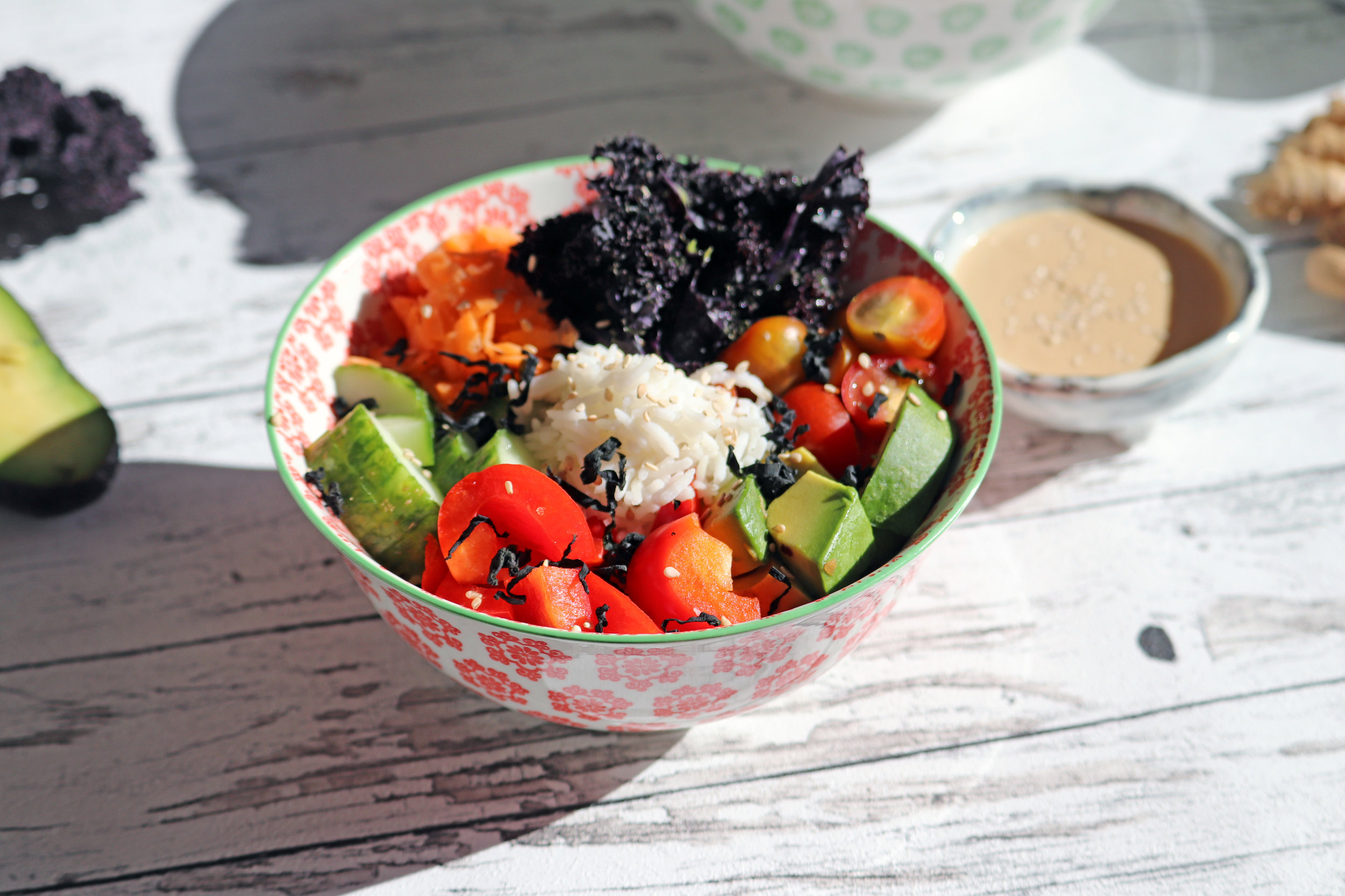 Sushi bowl with Ginger Miso Sauce -  Recipe Here