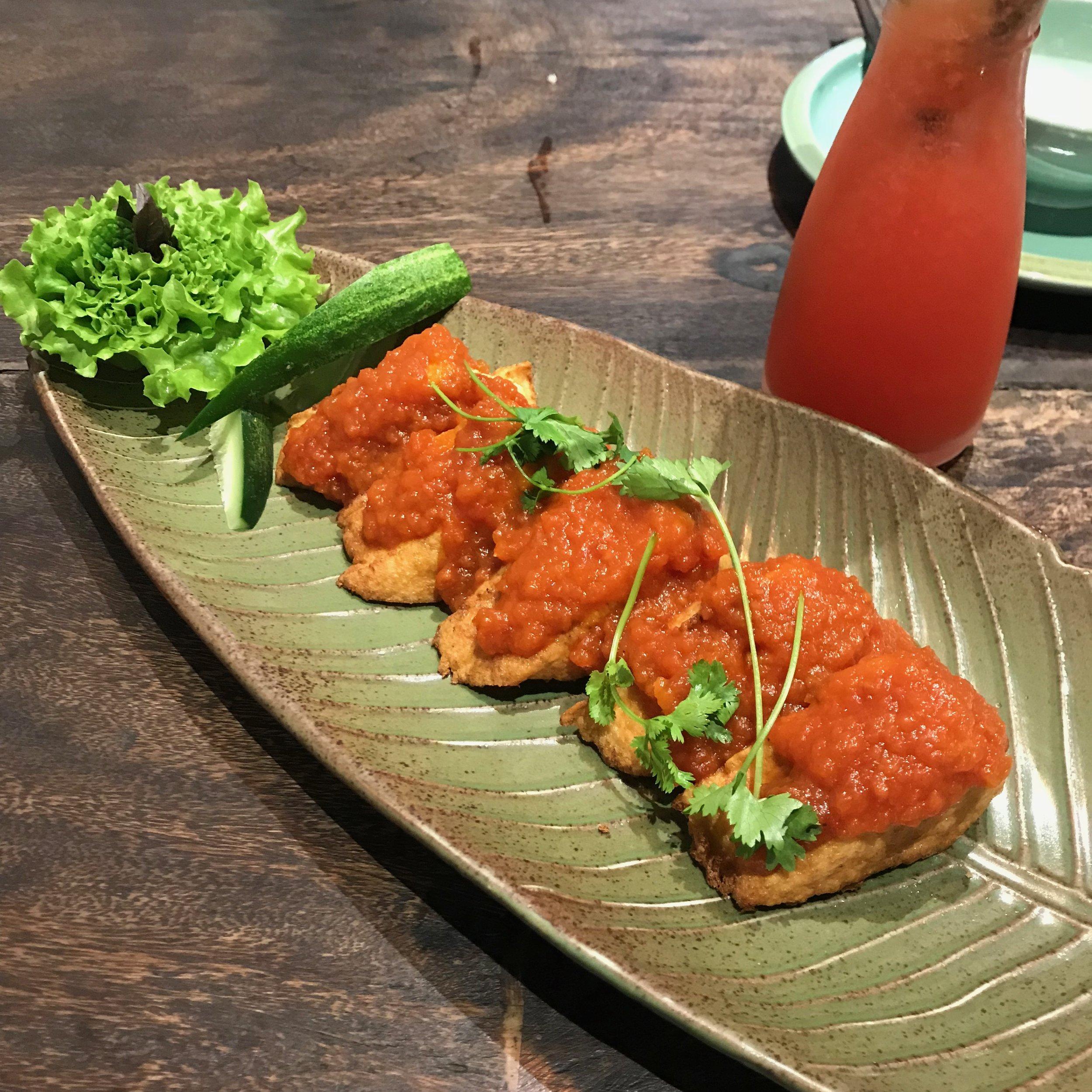 Uu Dam Chay - Fried Tofu w/Chilli Tomato Sauce