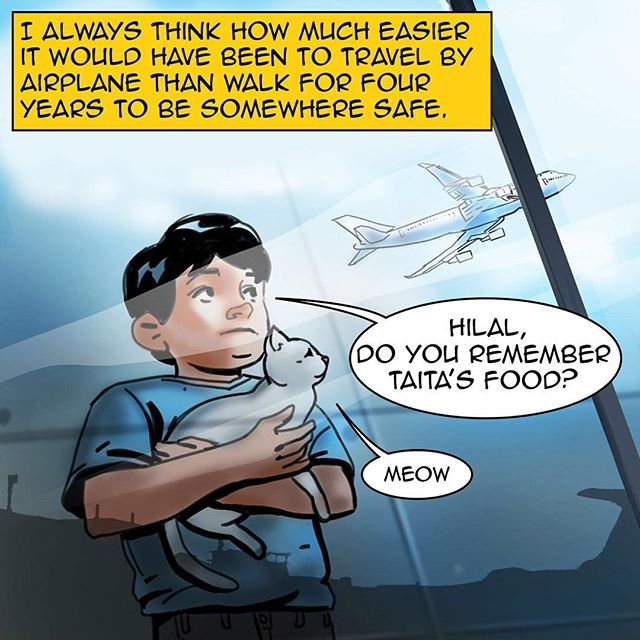 #homecomicbook #ramadan #ramadan2017 #na3am #comicbook #comics #comicbooks #comicarts #cat #talkingcat #refugees #kids #germany #berlin #airport  #family #رمضان  #شهر_رمضان  #رمضان_2017 #رمضان_كريم #رمضانيات#