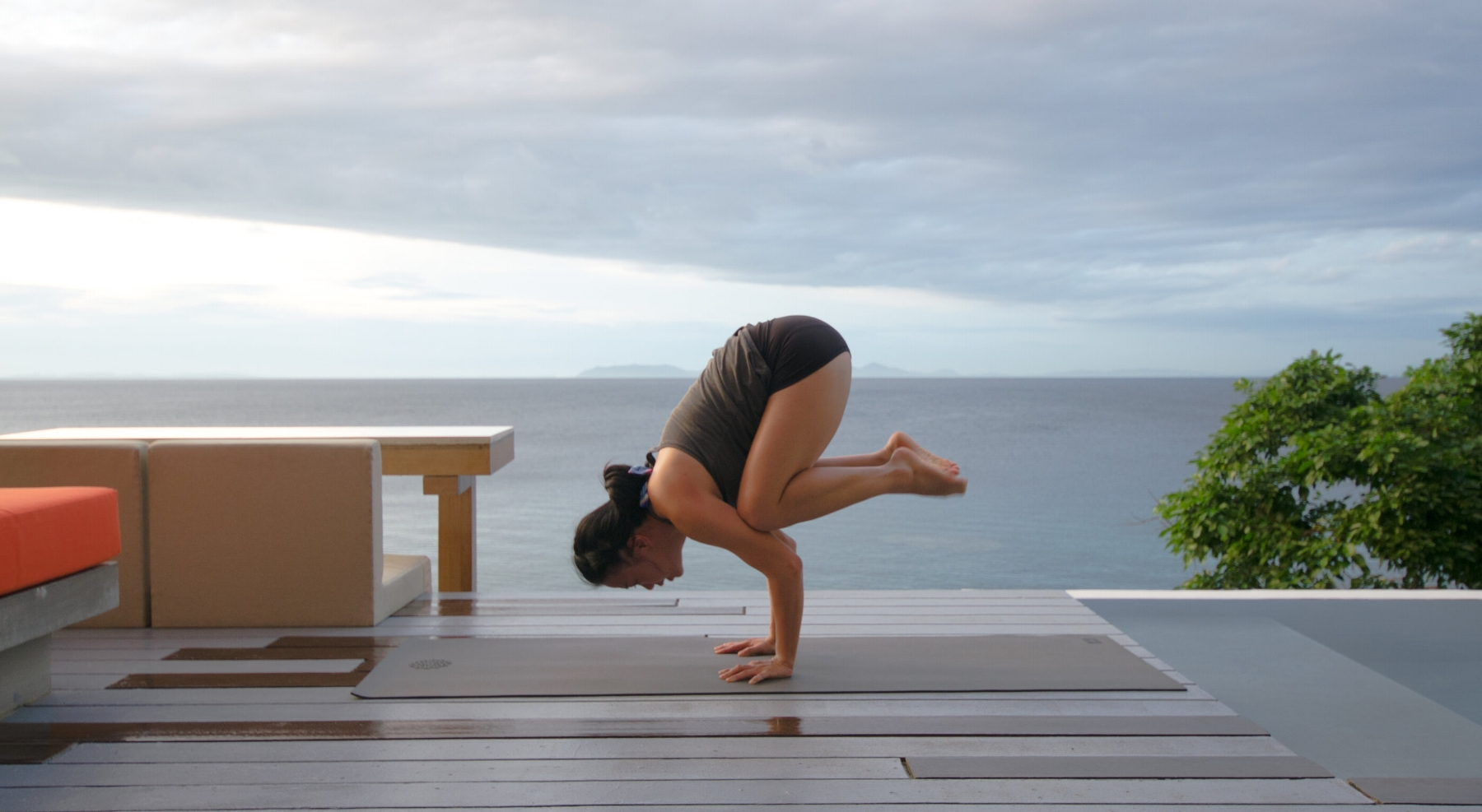 Yoga on the deck with uninterrupted view of the ocean