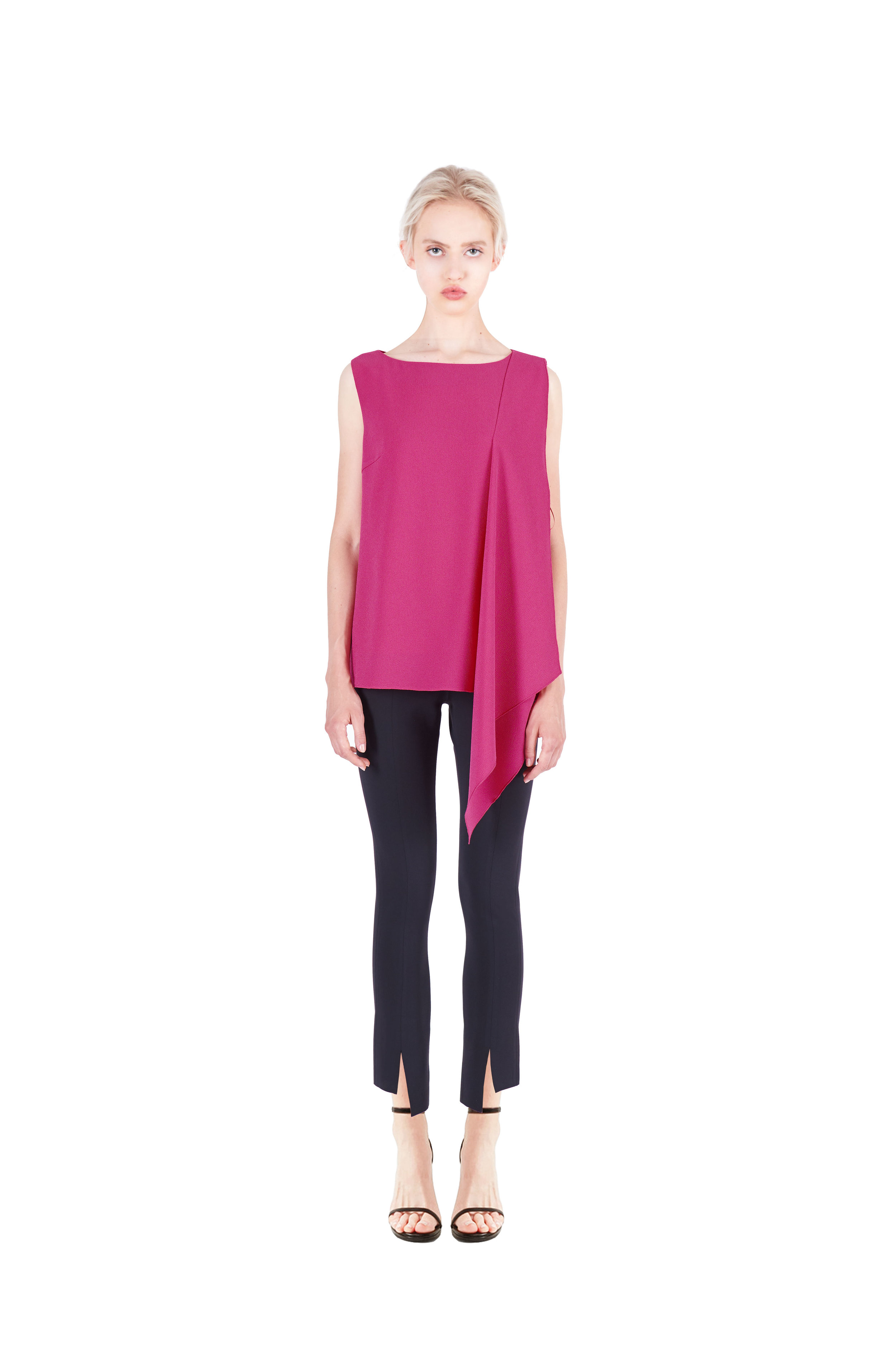 Boatneck draped top - Front slit trousers