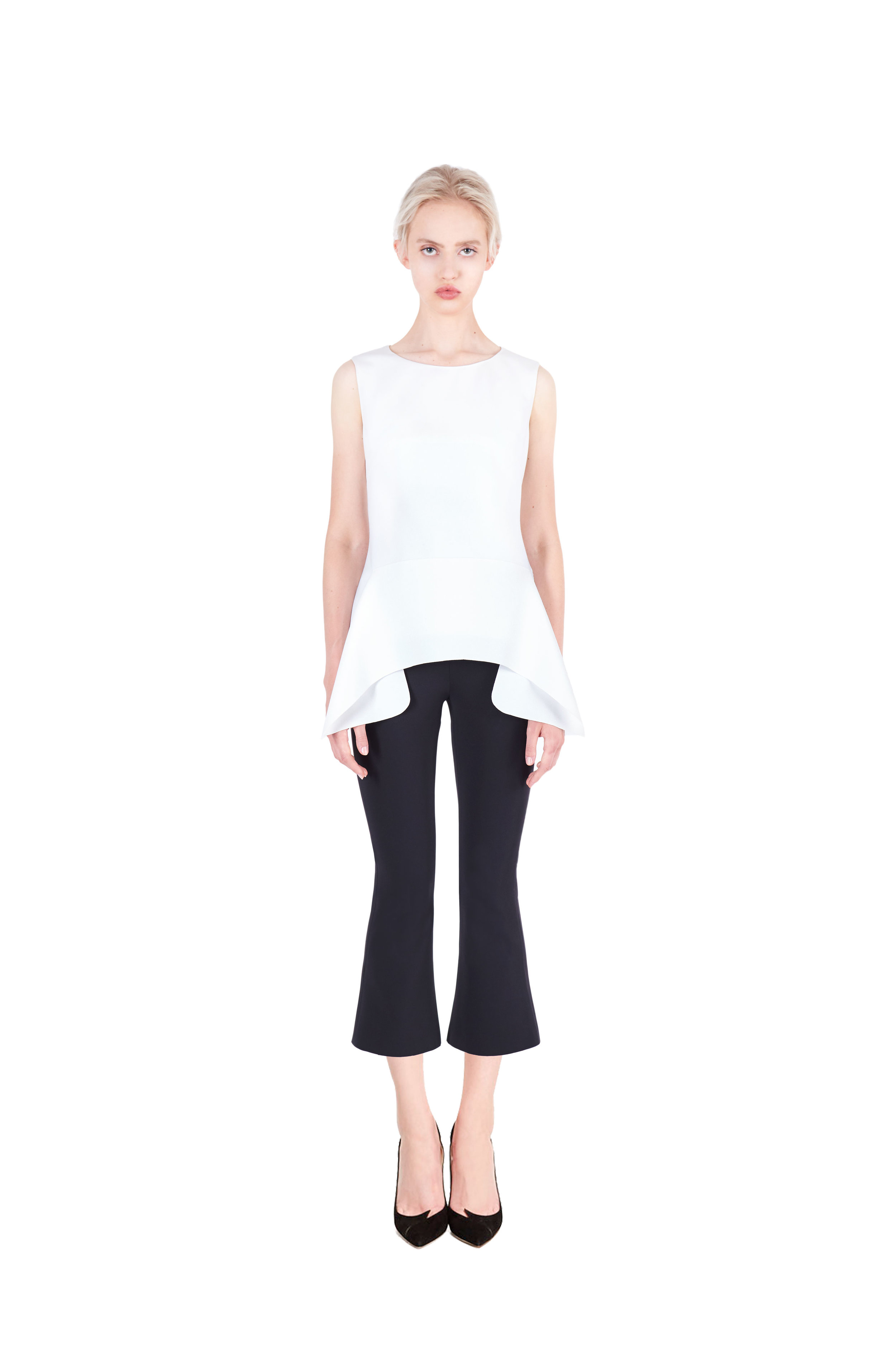 Sleeveless draped top - Flared trousers