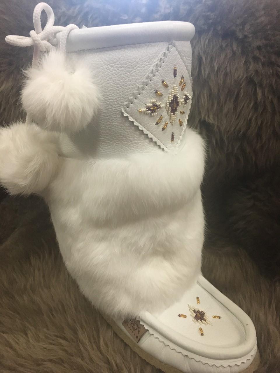 White Leather Mukluks - 13\