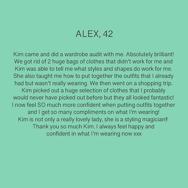 Alex was such a pleasure to help and it's really lovely to hear the results are still being felt. . #personalshoppingservice #personalshopping #stylinghelp #wardrobeorganising #raidingyourownwardrobe #outfithappy #surreybusiness @bluewatershopping