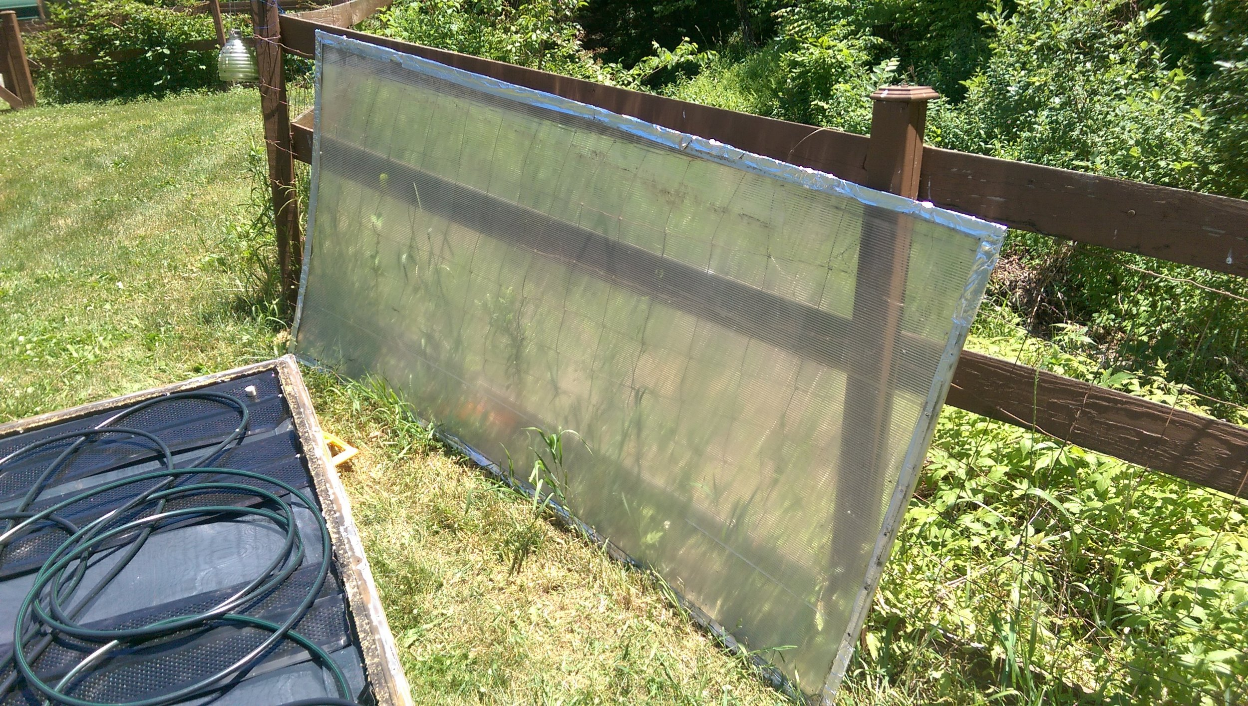 Green house solar panel double wall 4x8 with aluminum tape around the edges.