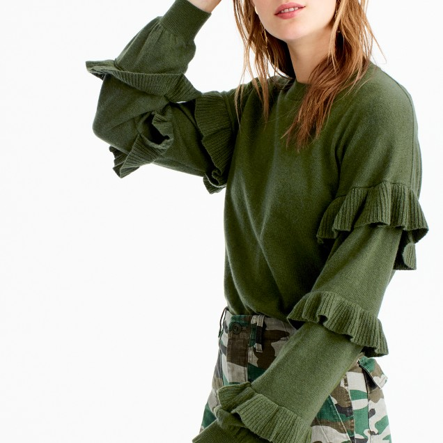 J.Crew Sweater with Ruffled Sleeves $79.50