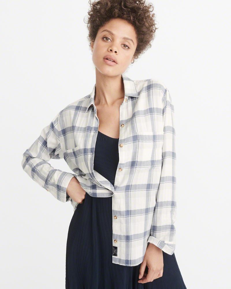 Abercrombie & Fitch Boyfriend Plaid Flannel Shirt $58