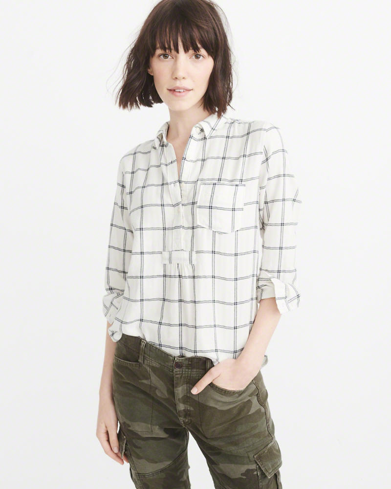 Abercrombie & Fitch Plaid Flannel Popover Shirt $58