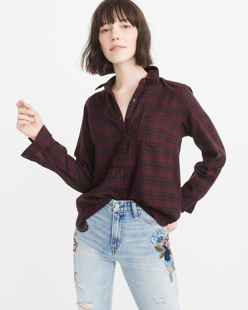 Abercrombe & Fitch Plaid Flannel Popover Shirt $58