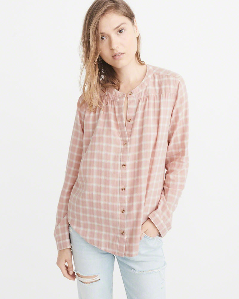 Abercrombe & Fitch Banded Collar Flannel Shirt $58
