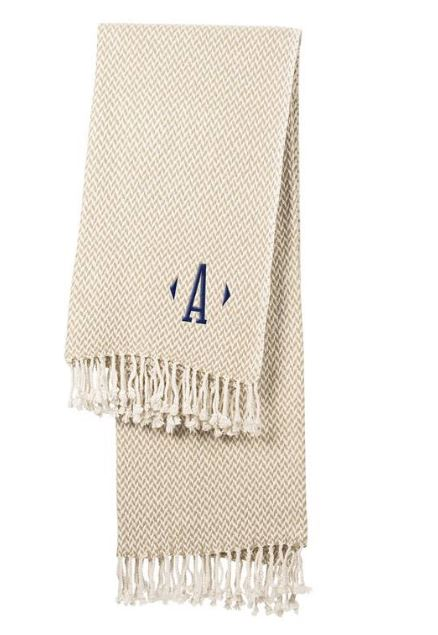 Cathy's Concepts Monogram Herringbone Throw Blanket $59
