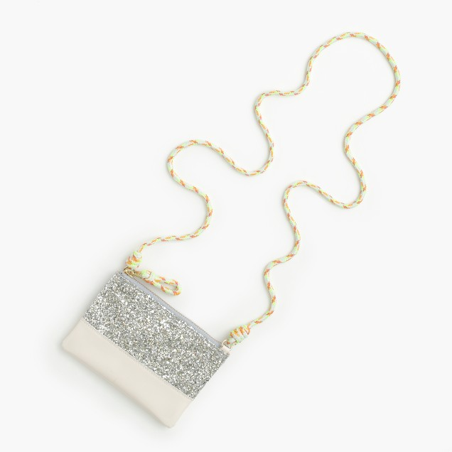 J.Crew Girls' leather pouchette bag with glitter $25  25% OFF FULL PRICE W/ CODE CHACHING