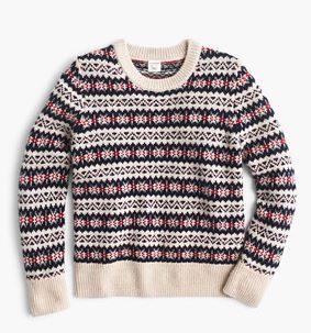 J. Crew Boys' Fair Isle crewneck sweater $65  25% OFF FULL PRICE W/ CODE CHACHING