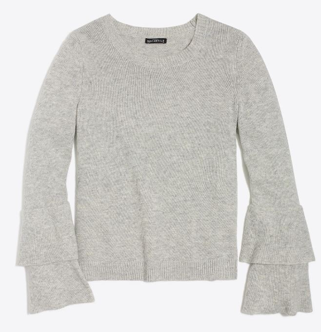 J.Crew Ruffle-sleeve pullover sweater $49