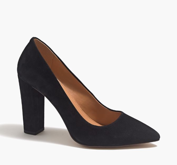 J.Crew Suede pointed toe pumps $89
