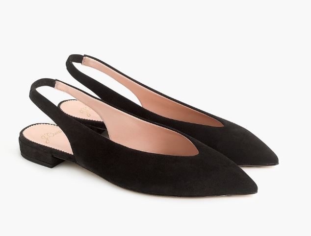 J.Crew Pointed-toe slingback flats in suede $128