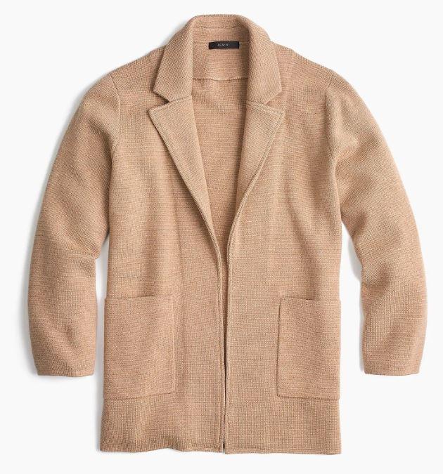 J.Crew Sophie open-front sweater blazer $138