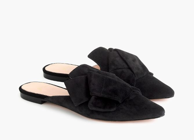 J.Crew Pointed-toe slides in suede $128