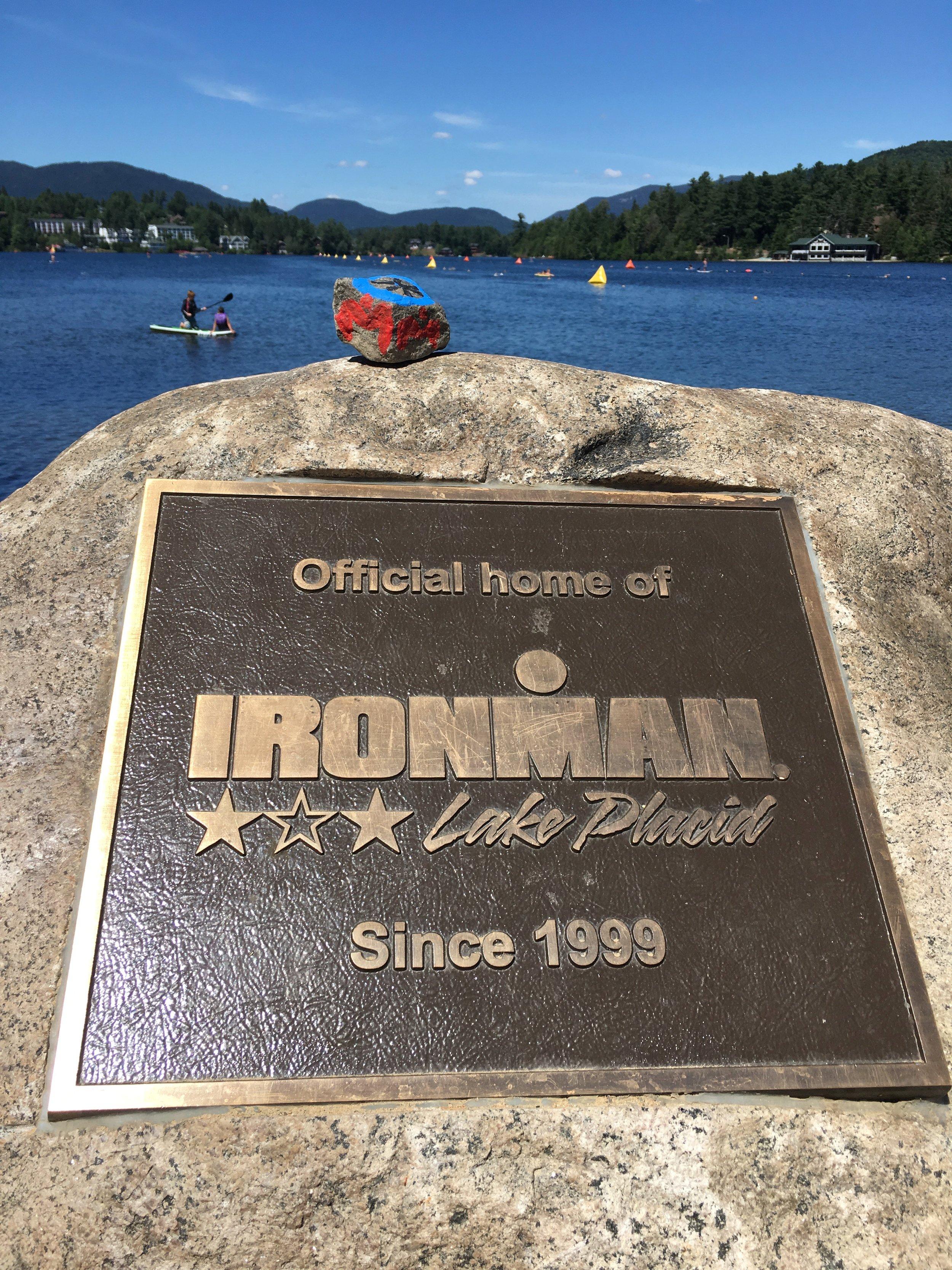 IRONMAN Lake Placid plaque at swim start
