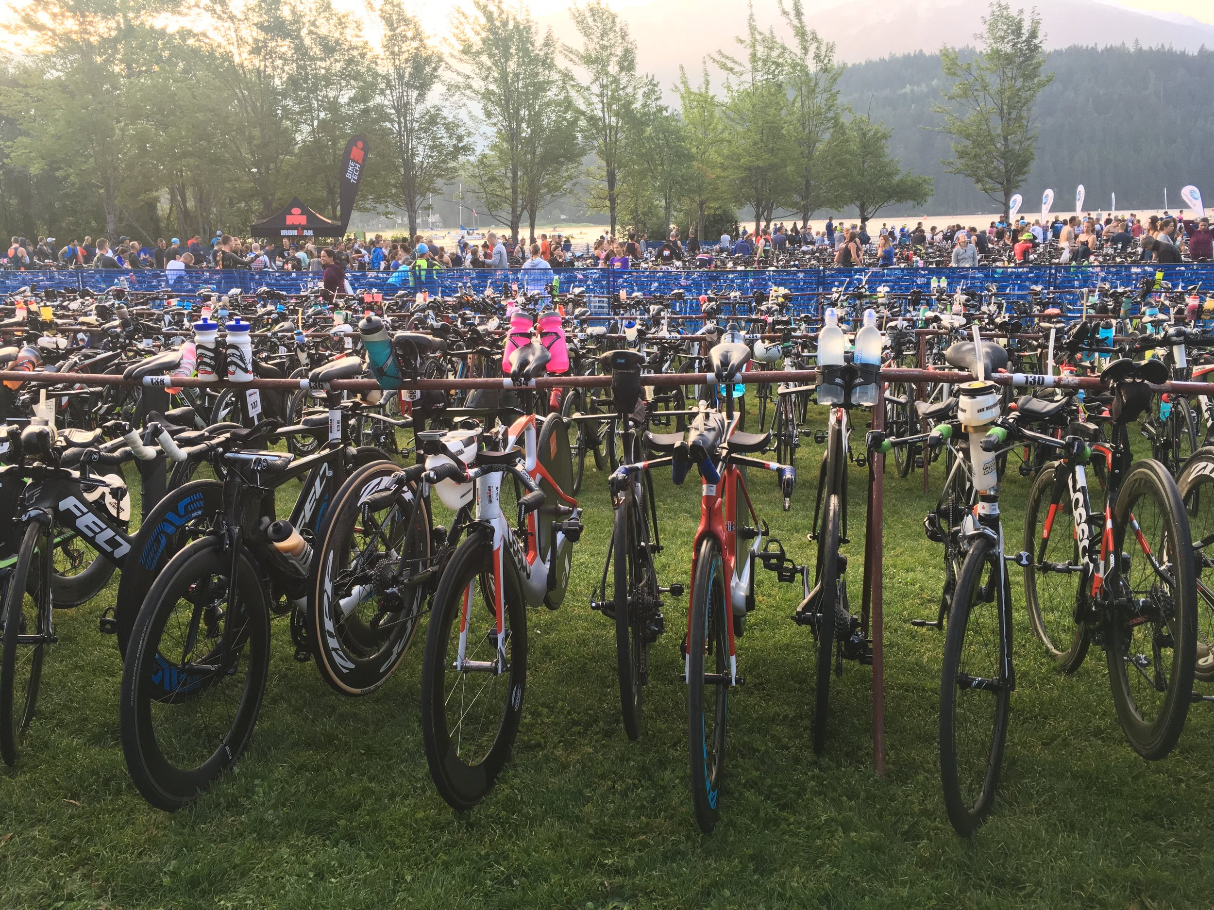 IRONMAN Canada bikes in transition