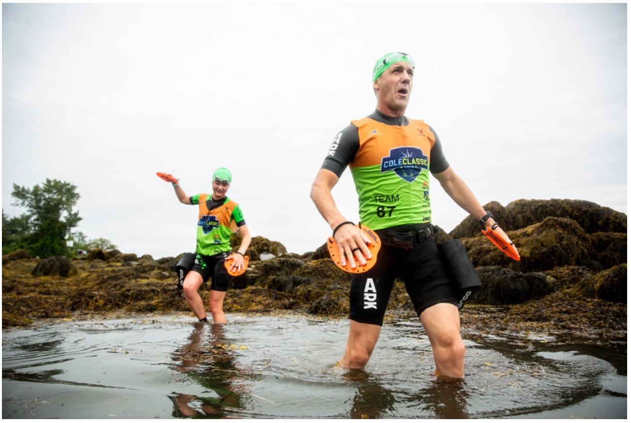 Coach Jim Anderson & Katie Clayton competing in Casco Bay SwimRun