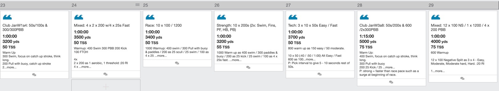 Endurance Drive swim training plan in TrainingPeaks