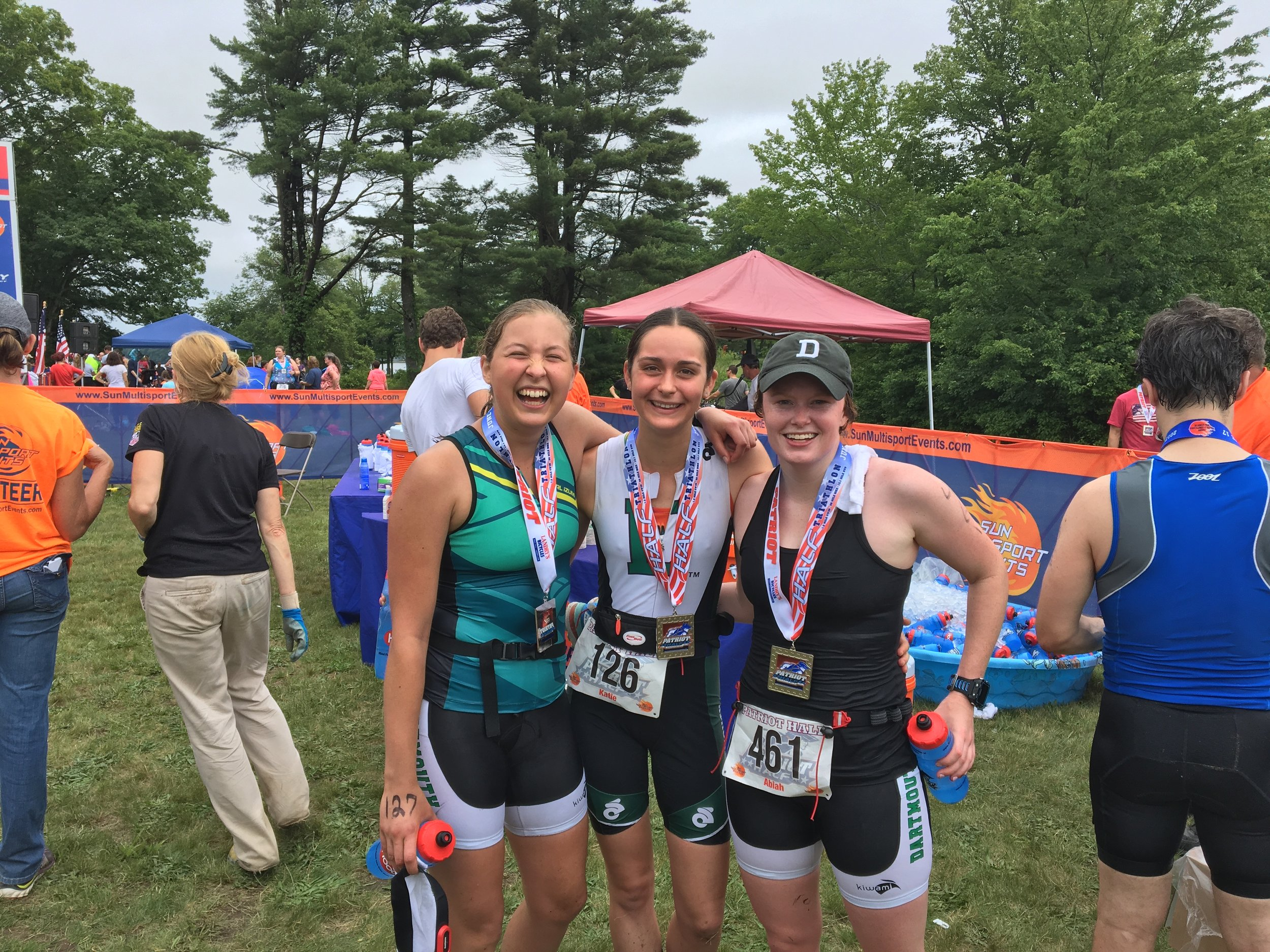Valentina, Katie, and Abiah, Dartmouth U23 athletes, at the 2017 Patriot Half Triathlon.