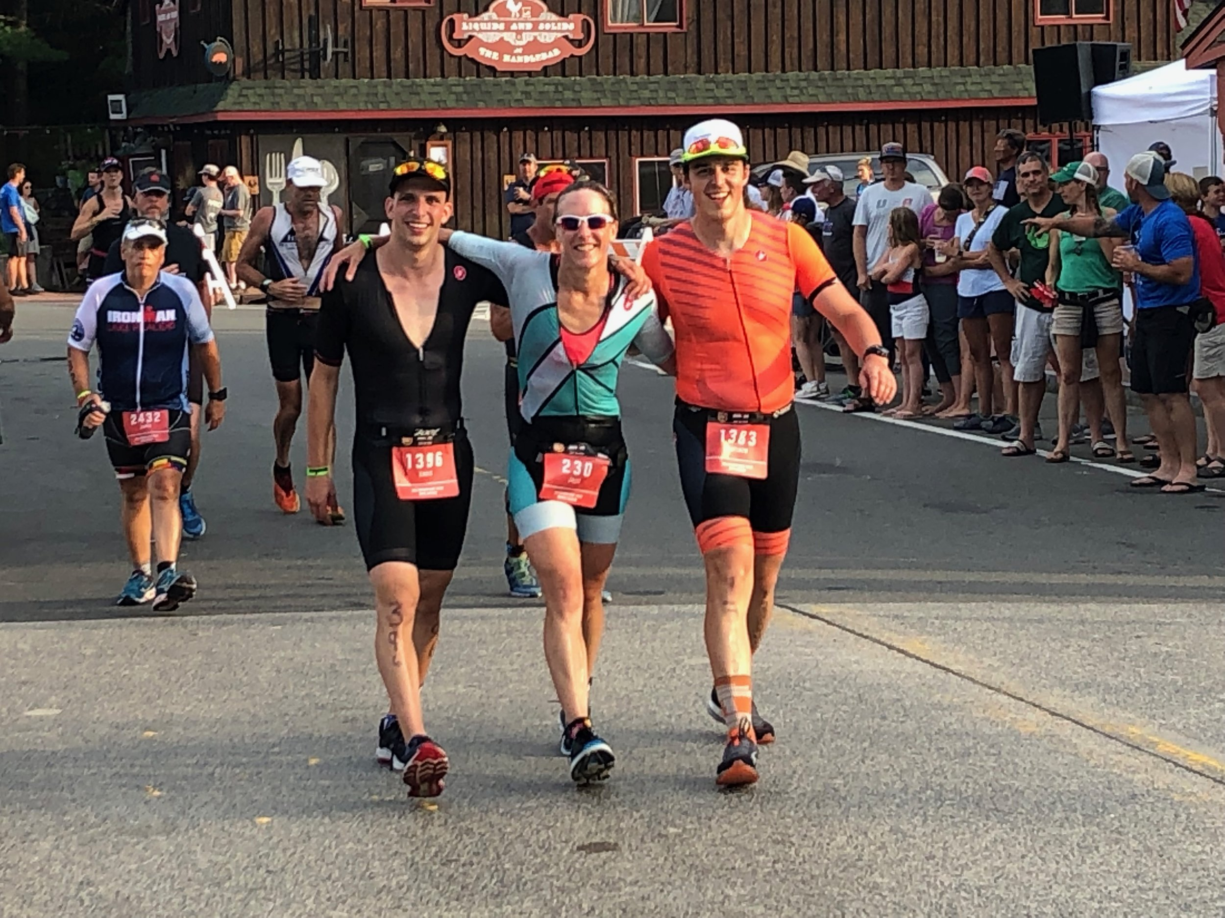 Chris Klein, Julie Smith & Matthew Goff - IRONMAN Lake Placid run