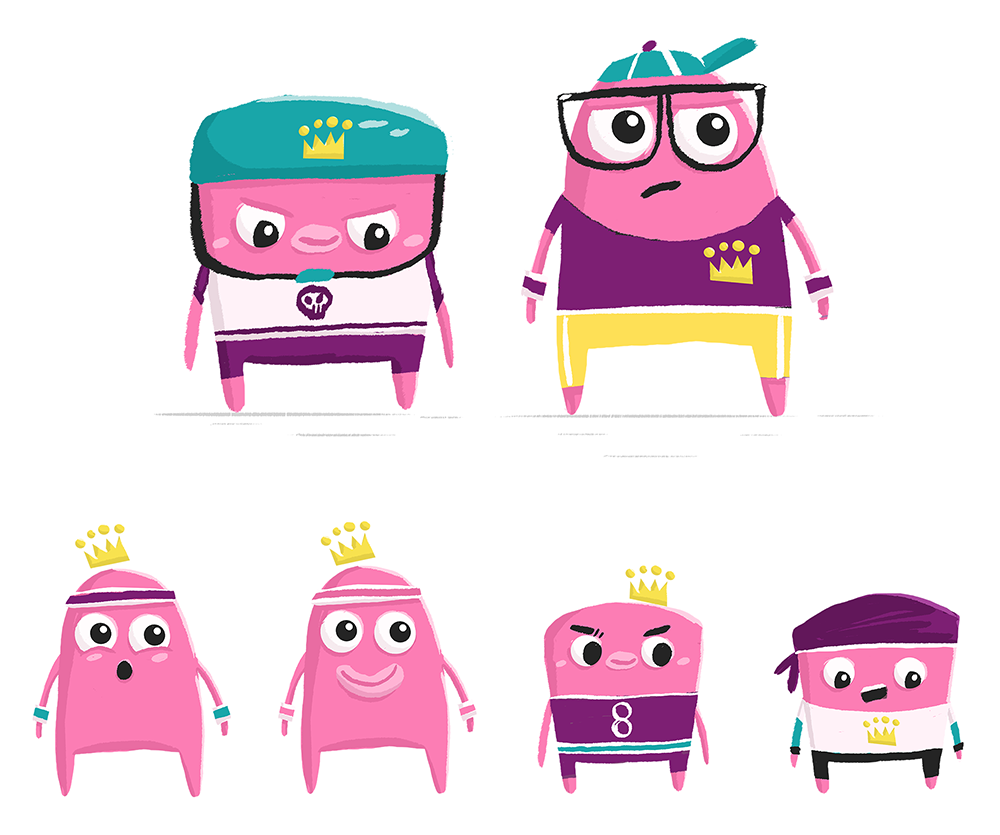 Characters inspired by Donut King's range of donuts.