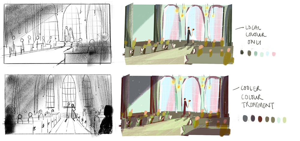 Rough layout sketches and colour design for the chapel.