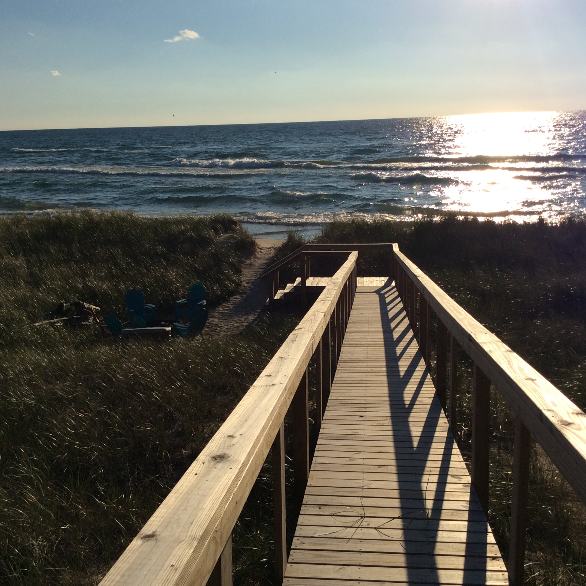 The new boardwalk leading to your private beach -