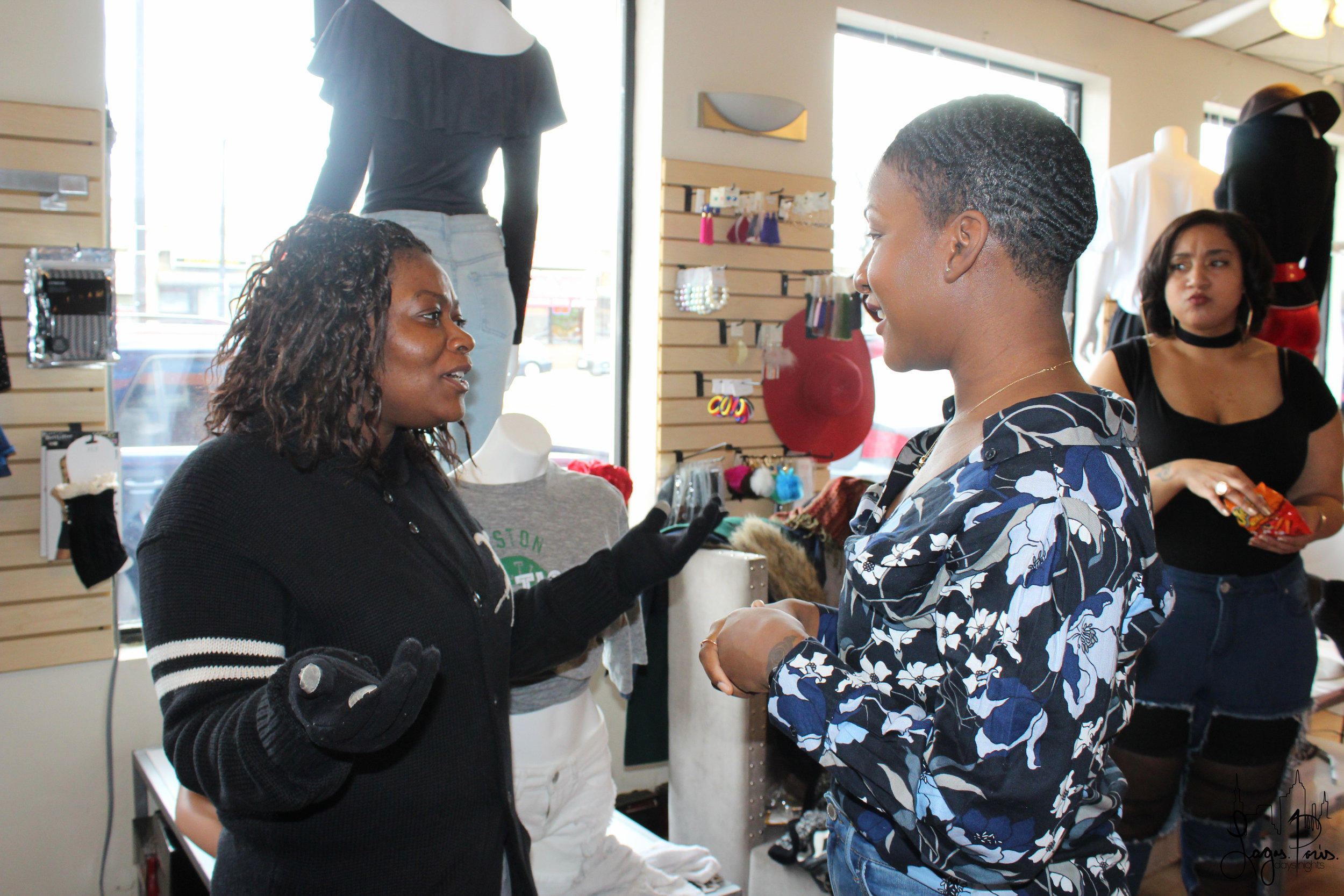 Saradjine interacts with one of her guests who came out to support her.
