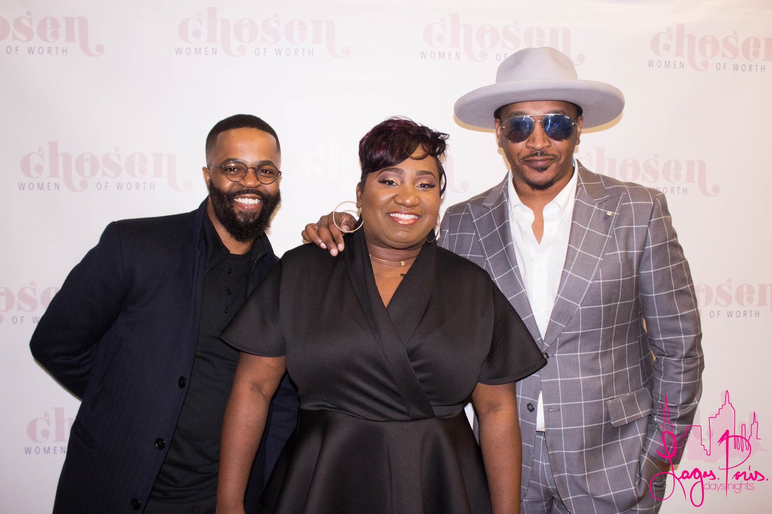 Chosen Women of Worth Founder, Katlyne Dessaint-Louis (center) pictured with her husband Jean Louis (left) and Stylist J. Bolin (right).