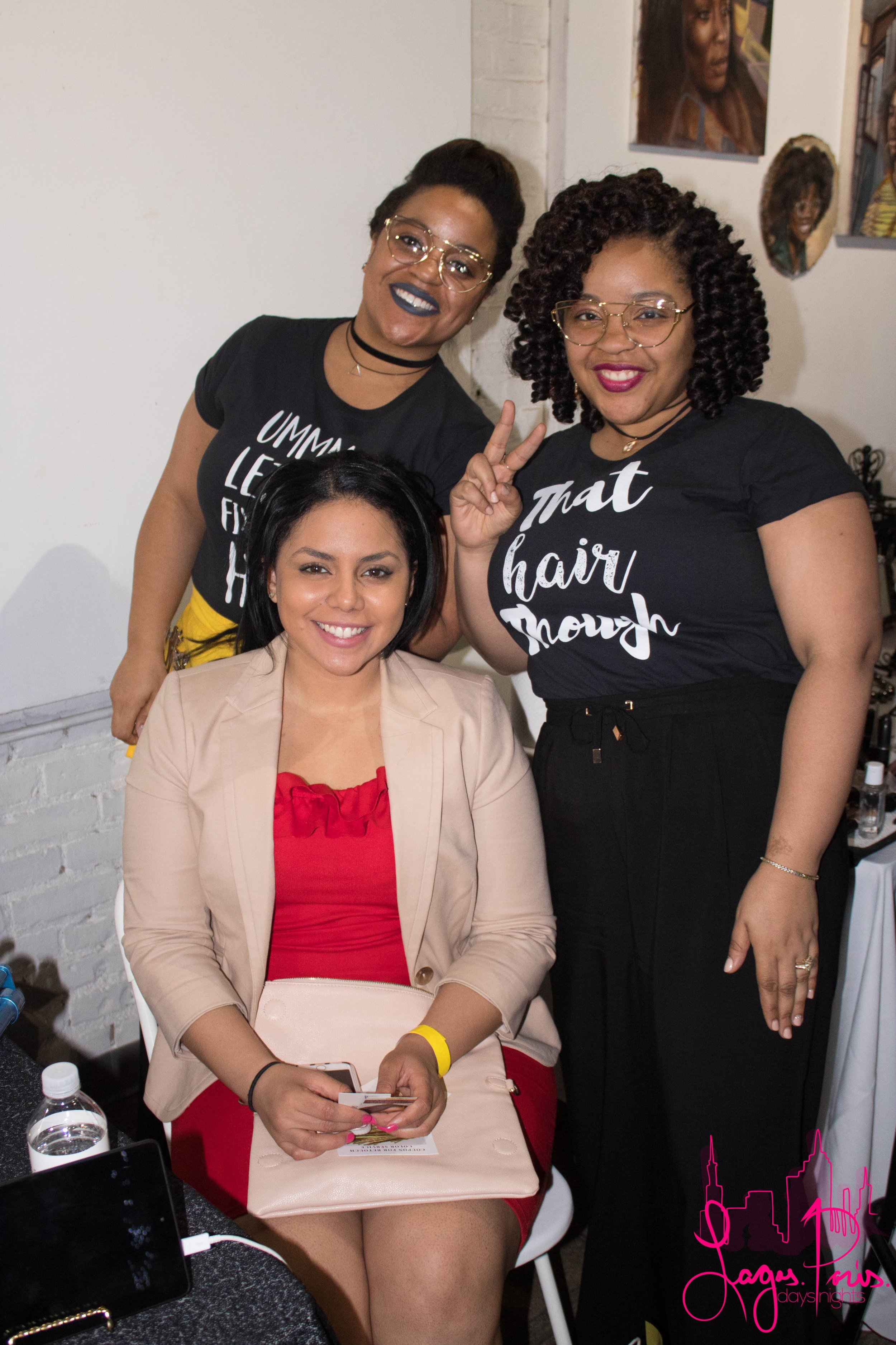 The ladies of Bobbi's Hair provided live hair styling services.