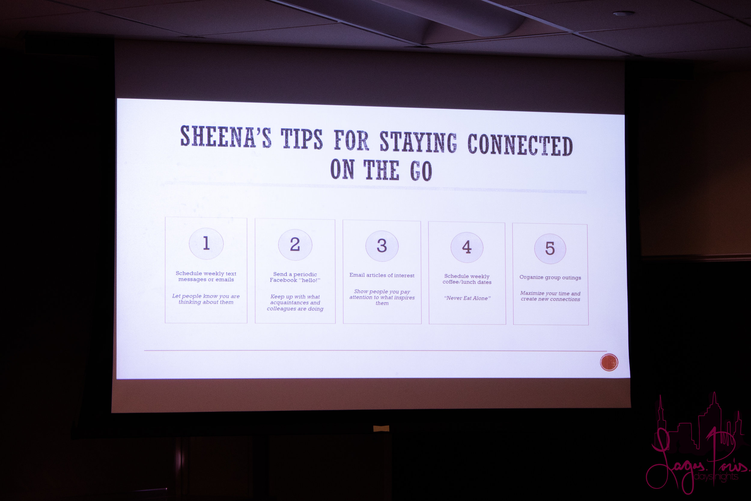 One of Sheena's visuals: Tips fo Staying Connected on the Go.